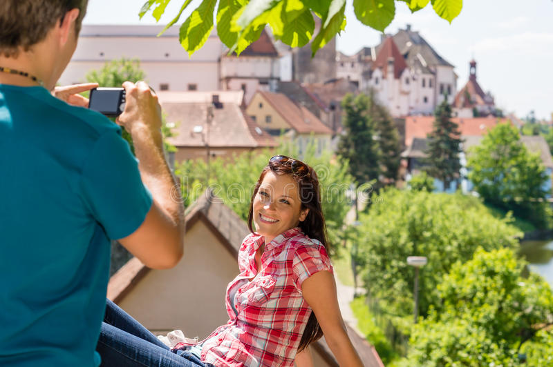 Young woman being photographed in romantic city royalty free stock photos