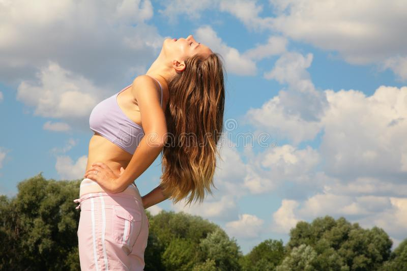 Young woman bend back royalty free stock photos