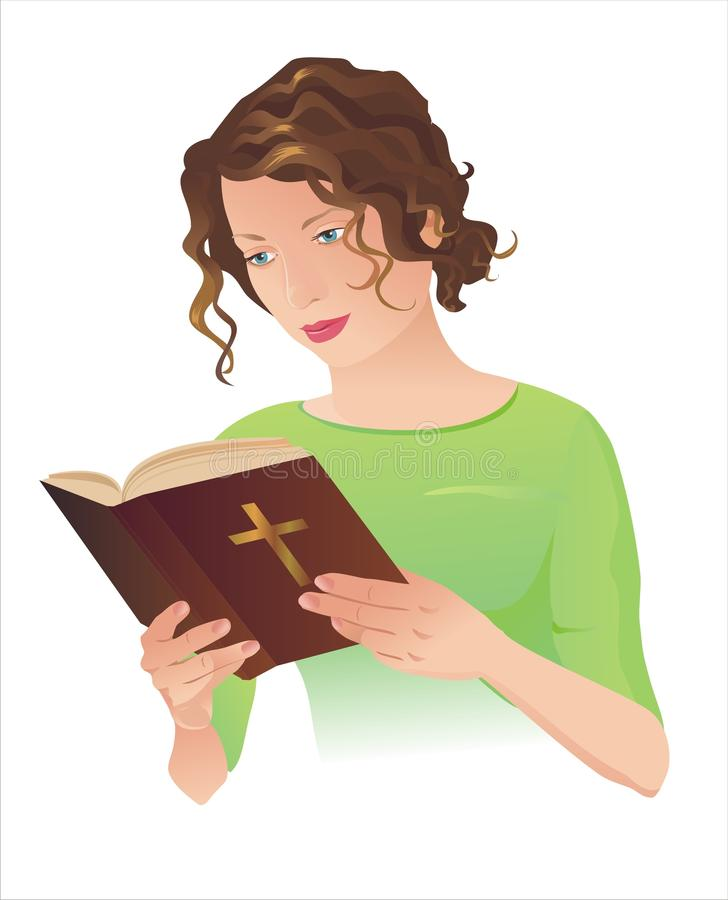 Young woman with Bible. Young woman holding the Holy Bible and reading it, vector included royalty free illustration