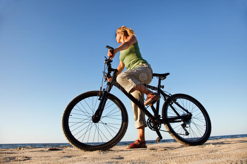 Download Young woman with bicycle stock image. Image of bicycle - 10441003