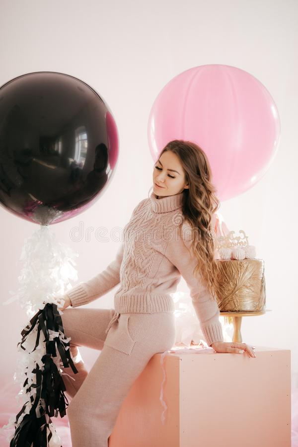 Young woman with big balloons royalty free stock photos