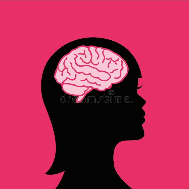 Young woman with a big brain vector illustration