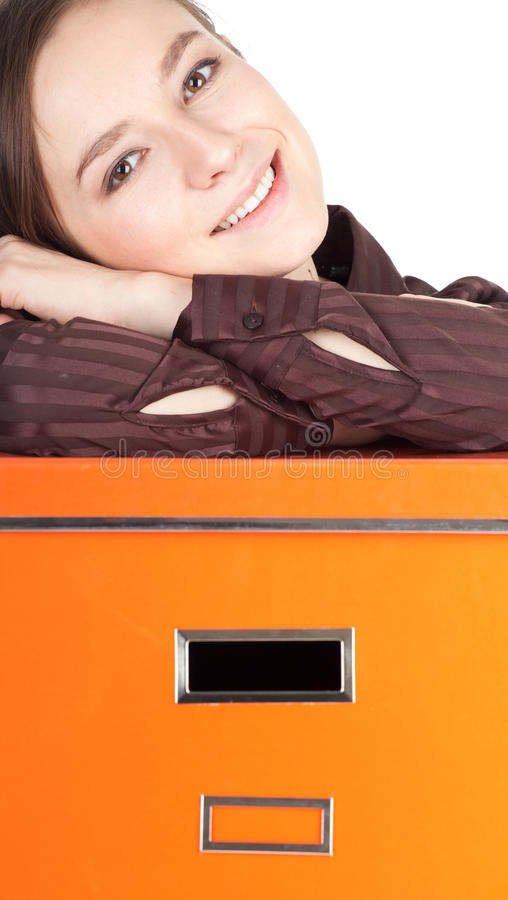 Young Woman And Big Orange Box Stock Images