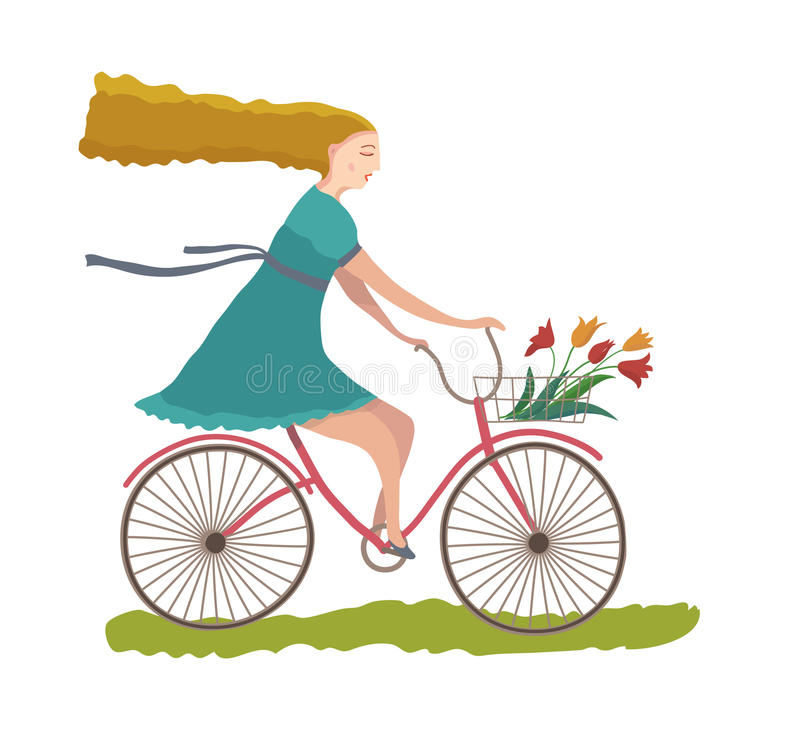 Young woman on a bike. Illustration vector illustration