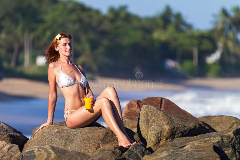Download Young Woman In Bikini With Cocktail Stock Image - Image: 27454101