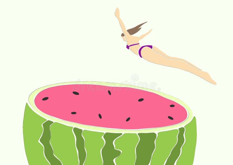 Young woman in bikini jumping into watermelon. royalty free illustration