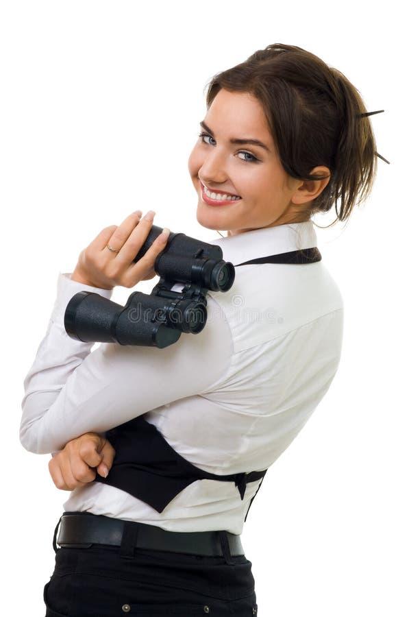 Young woman with binocular