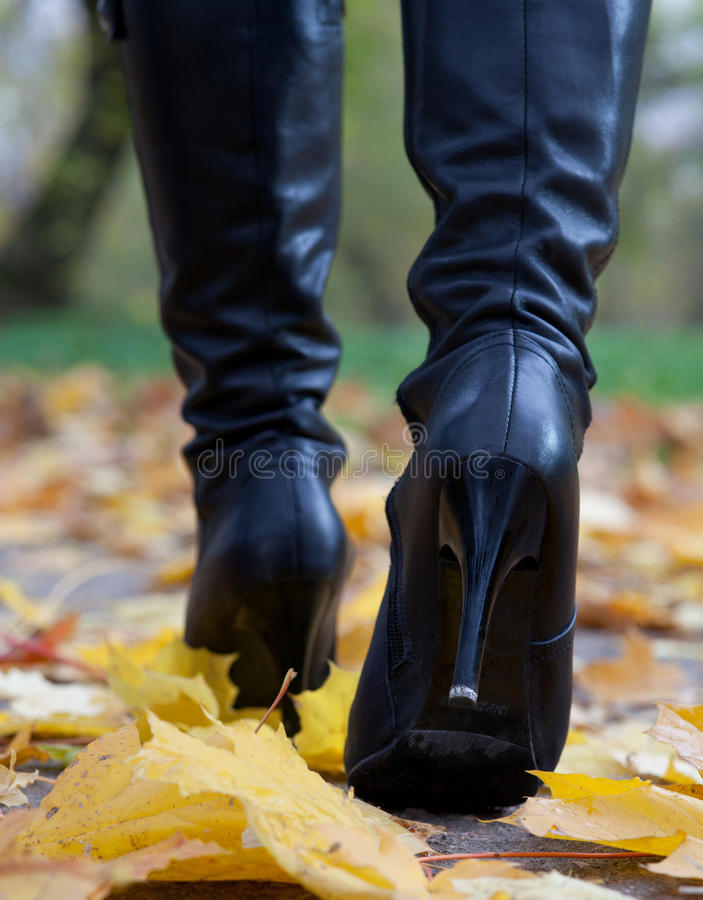 Young woman in black boot stock photography