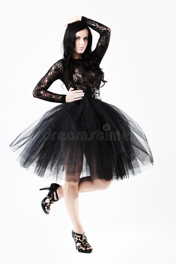 Download Young Woman In Black Lace Dress Stock Photo - Image: 10614598