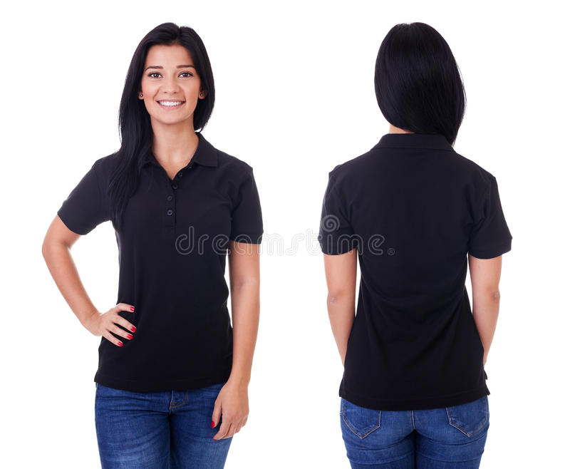 Young woman in black polo shirt. On white background stock image
