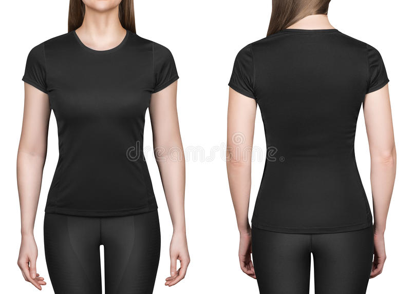 Young woman in black polo shirt white background royalty free stock photography