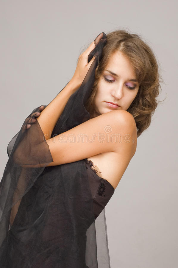 Young Woman With Black Veil Stock Images