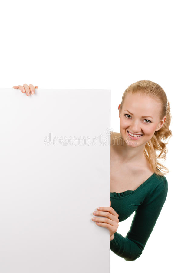 Young woman with blank billboard royalty free stock photos