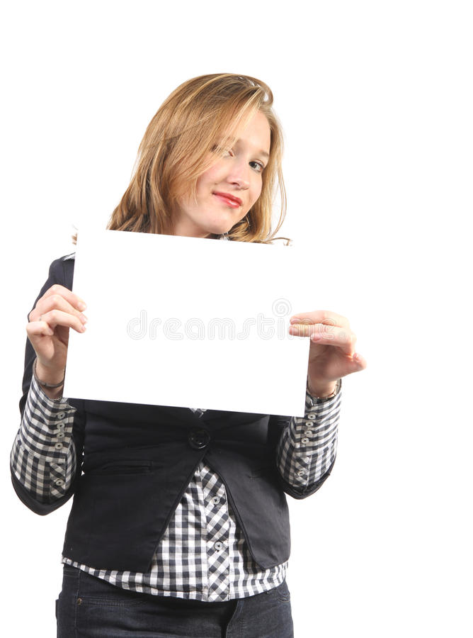Young woman with blank card royalty free stock image