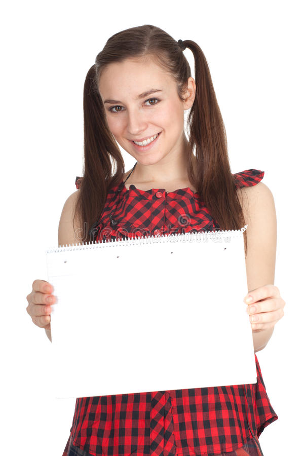 Download Young Woman With Blank Card Stock Image - Image of pony, female: 18024443