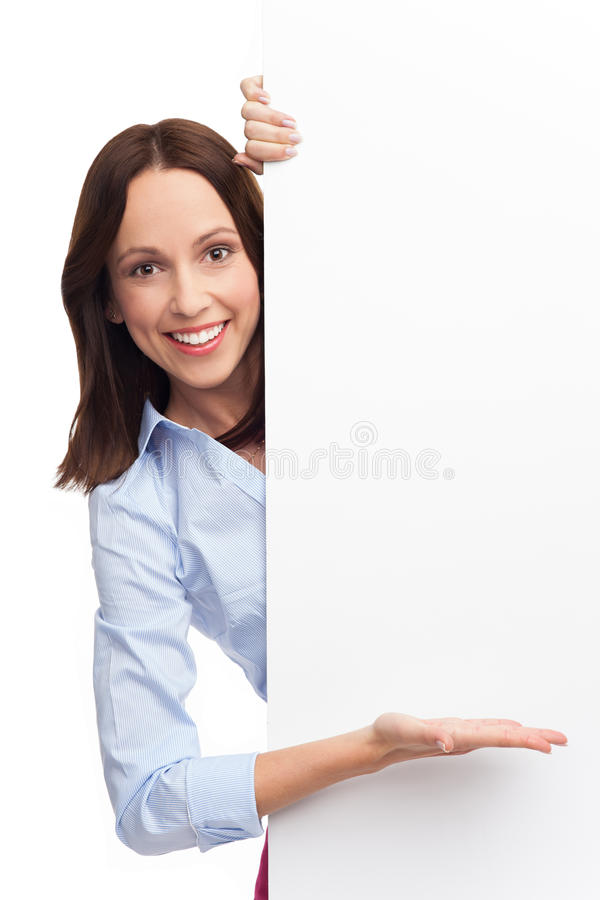 Download Young Woman With Blank Poster Royalty Free Stock Photography - Image: 28344437