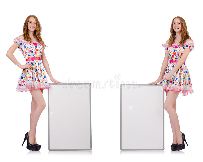 The young woman with blank poster isolated on white. Young woman with blank poster isolated on white royalty free stock photos