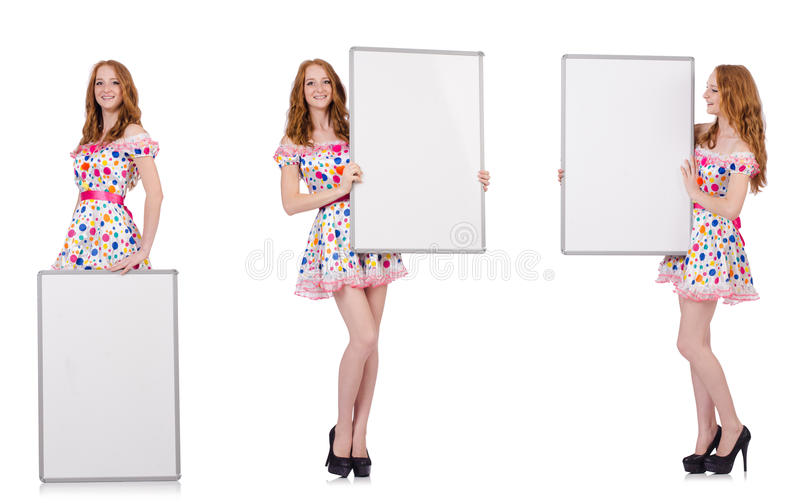 The young woman with blank poster isolated on white. Young woman with blank poster isolated on white stock images