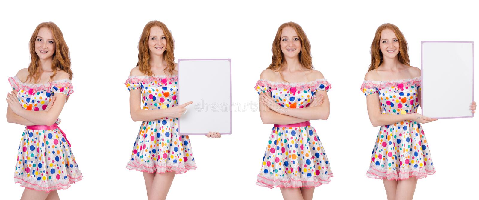 The young woman with blank poster isolated on white. Young woman with blank poster isolated on white royalty free stock image