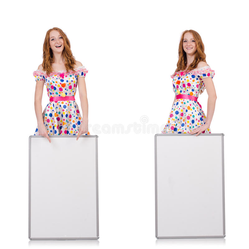 The young woman with blank poster isolated on white. Young woman with blank poster isolated on white royalty free stock photography