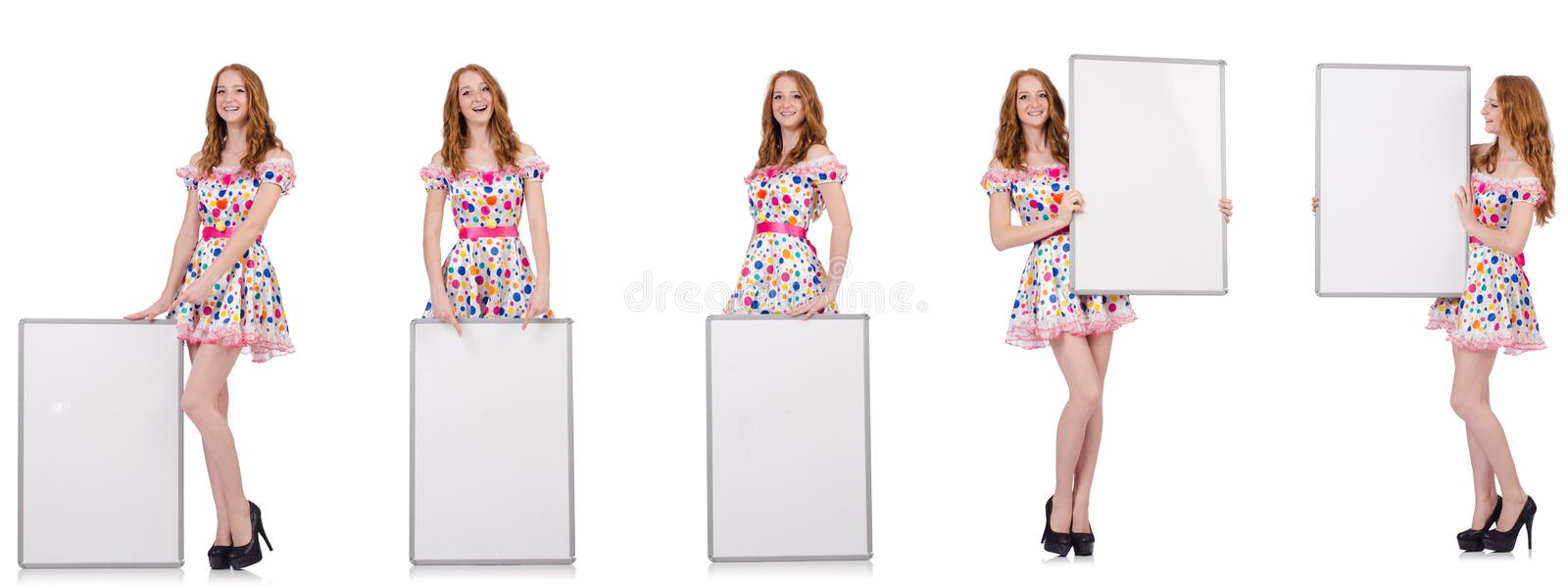 The young woman with blank poster isolated on white. Young woman with blank poster isolated on white royalty free stock photo