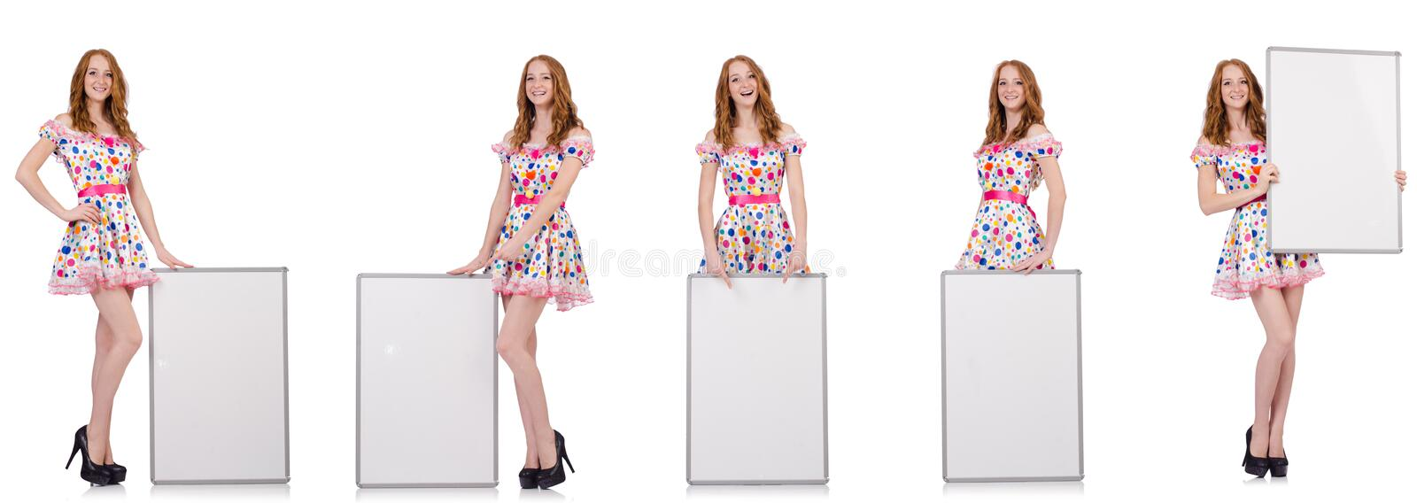 The young woman with blank poster isolated on white. Young woman with blank poster isolated on white royalty free stock images