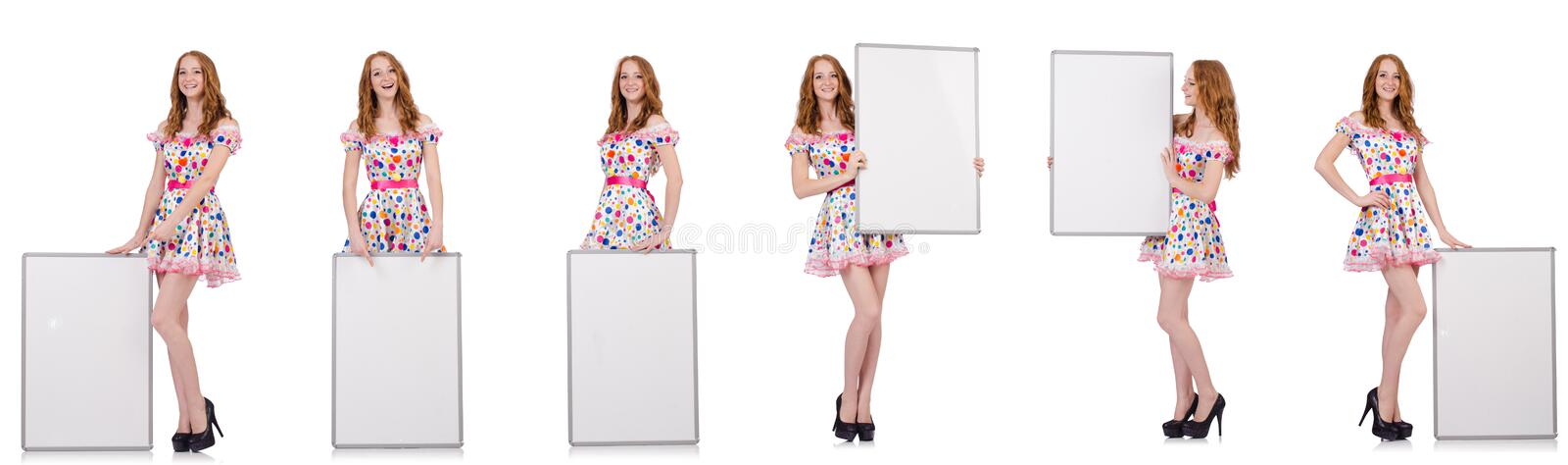 The young woman with blank poster isolated on white. Young woman with blank poster isolated on white stock photo