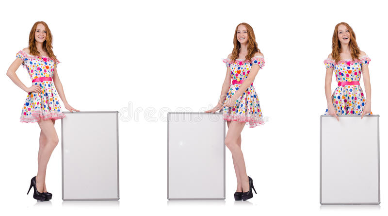 The young woman with blank poster isolated on white. Young woman with blank poster isolated on white stock photography