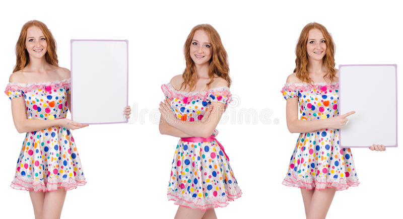 The young woman with blank poster on white. Young woman with blank poster on white stock photo