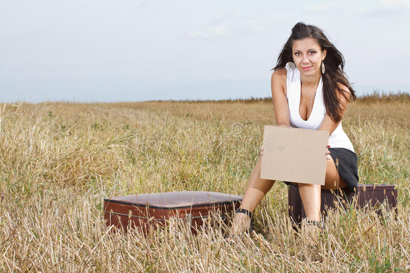 Download Young Woman With Blank Sheet Stock Photo - Image: 23543058