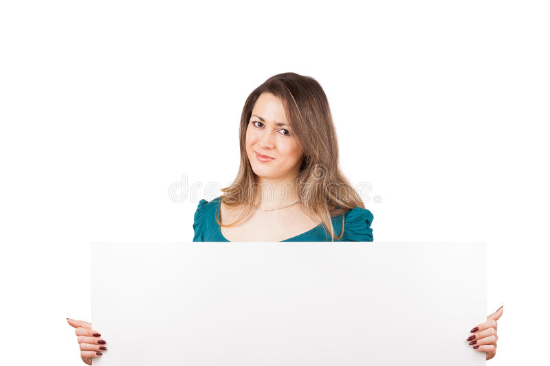 Young woman with blank stock images
