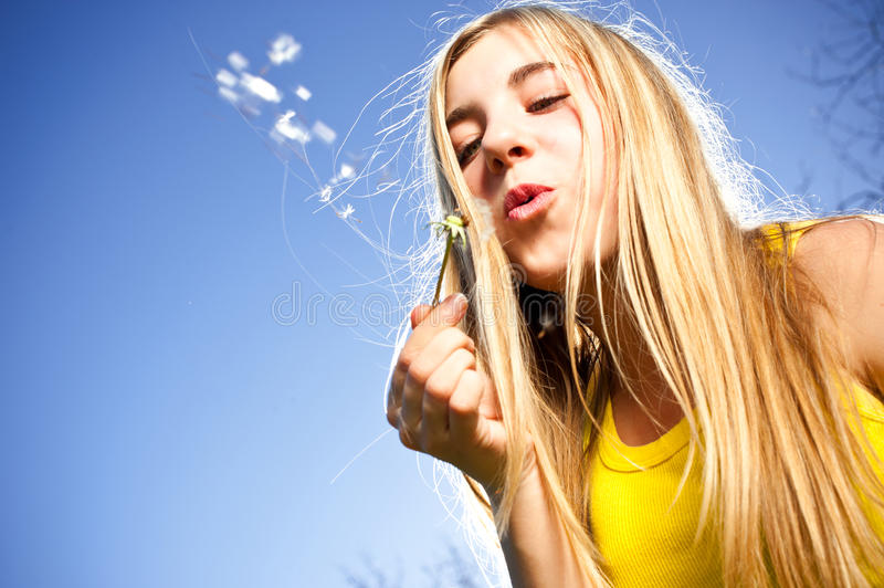 Young woman blowing dandelion stock photography