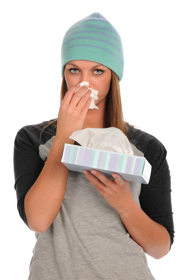 Download Young Woman Blowing Her Nose Stock Photo - Image: 18617648
