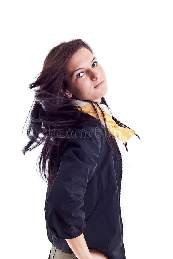 Young Woman With Blown Hairs Royalty Free Stock Images