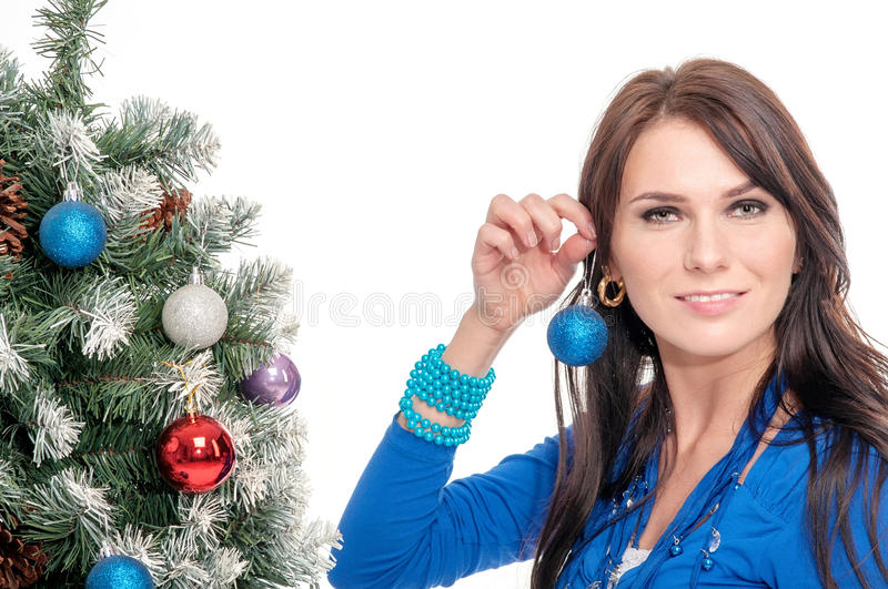 Young woman in blue dress stock photos