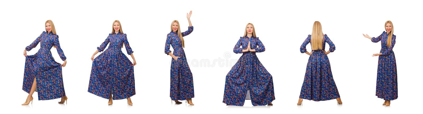 Young woman in blue floral dress isolated on white royalty free stock photography