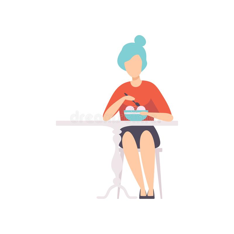 Young woman with blue hair sitting in cafe and eating ice cream vector Illustration on a white background stock illustration