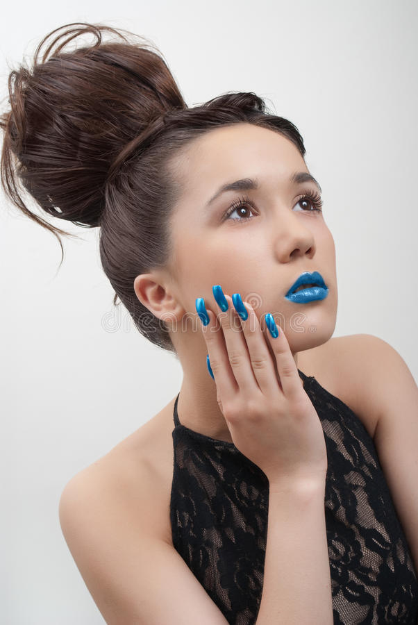 Download Young Woman With Blue Lips And Nails Stock Image - Image: 15815533