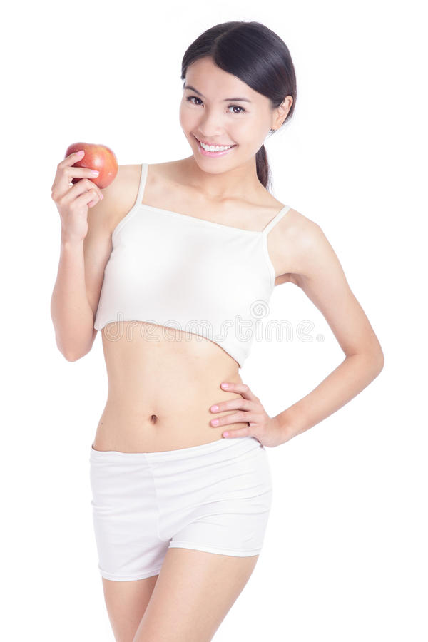 Young Woman Body And Hand Holding Red Apple Stock Photography