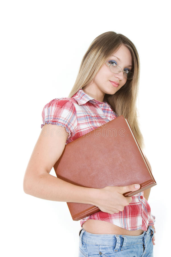 Young woman with book stock images