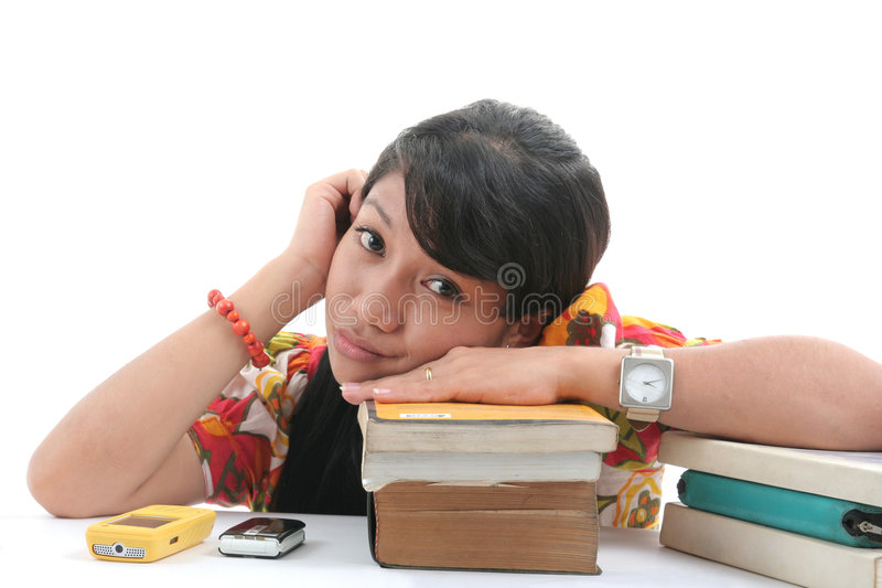 Download Young woman with books stock image. Image of student, white - 9262567