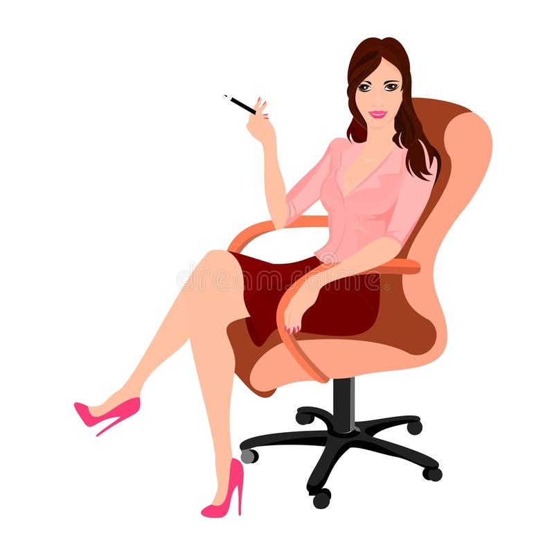 young woman boss or secretary or office worker brunette stock illustration
