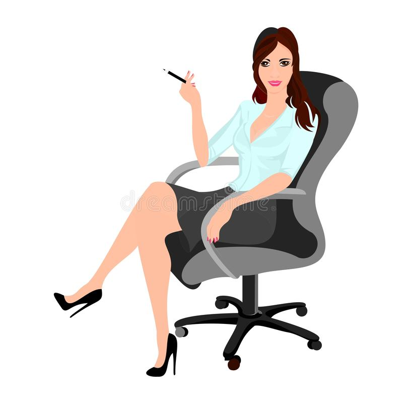 young woman boss or secretary or office worker brunette illustration for decoration drawing stock illustration