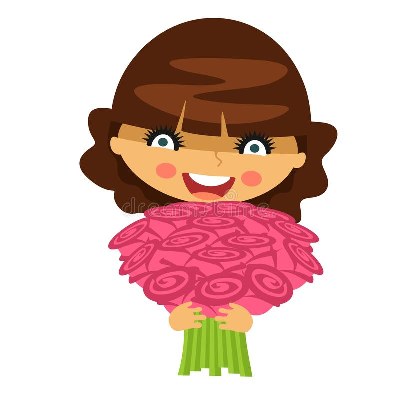 Young woman with a bouquet of flowers vector illustration