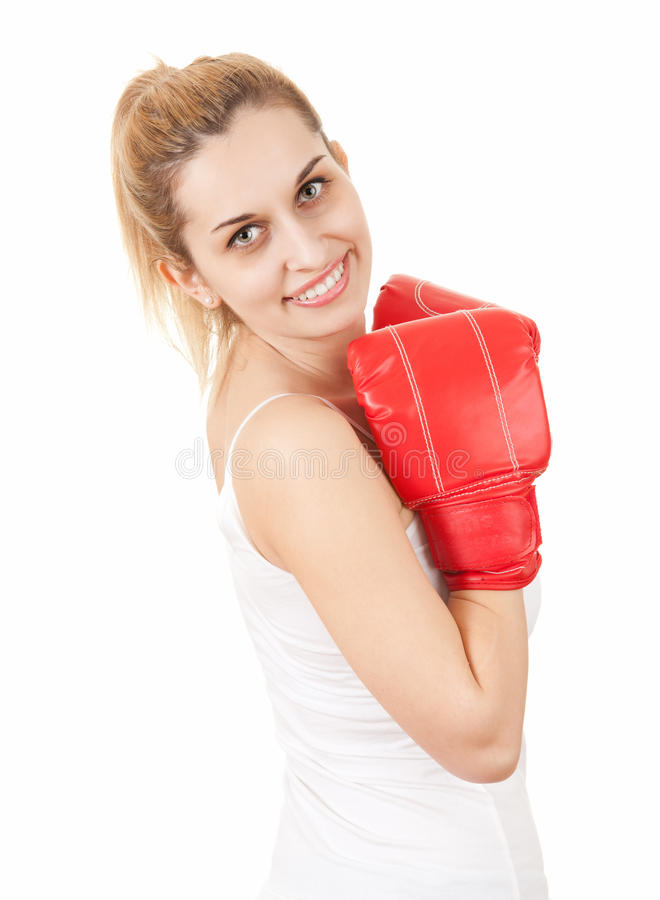 Download Young Woman In Boxing Gloves Stock Photo - Image: 25233826