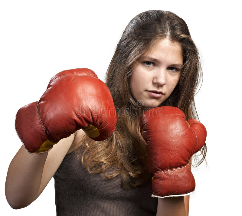 Download Young Woman With Boxing Gloves Stock Image - Image: 26537401