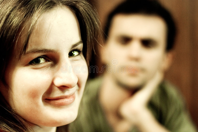 Young woman and boyfriend royalty free stock photos