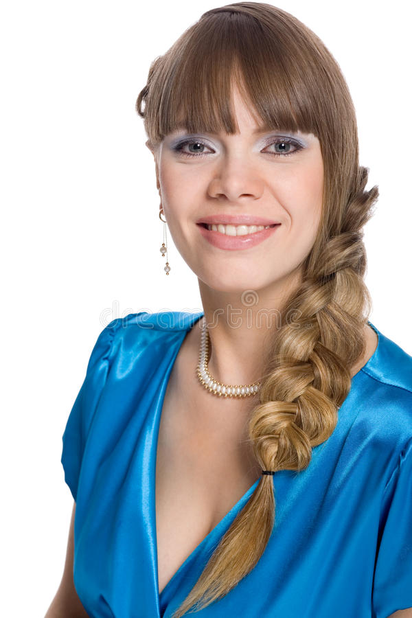 Young woman with braided hair in a braid stock photos