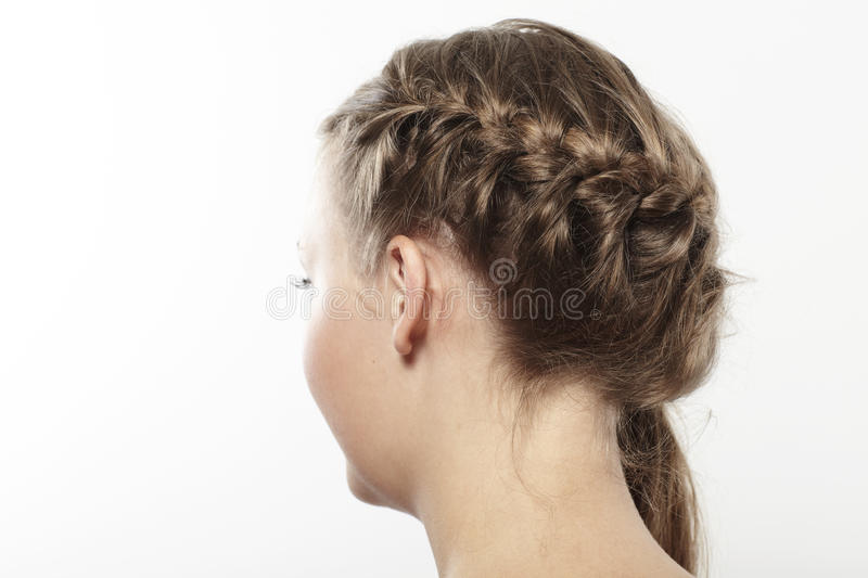 Young woman with braided hair. Young woman with long braided hair, close up stock image