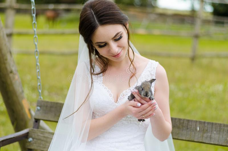 Young woman bride smiling and holding cute rabbit over park summer nature outdoor. White wedding dress, green background royalty free stock images